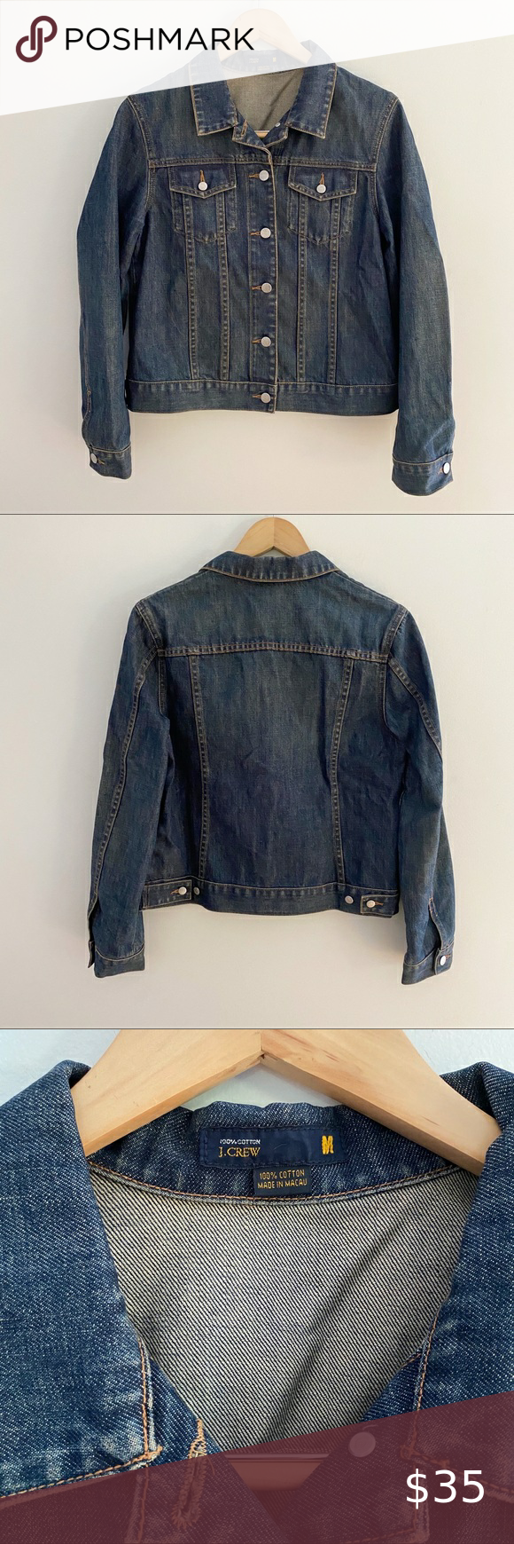 J. Crew Dark Wash Jean Jacket-Size Medium J. Crew