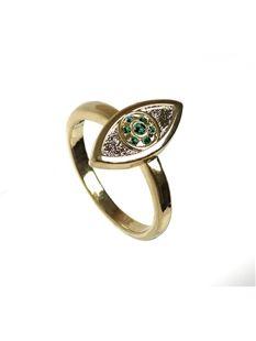 4d21d4c3e House of Harlow 1960 - Green evil eye ring. | Jewels | Rings ...