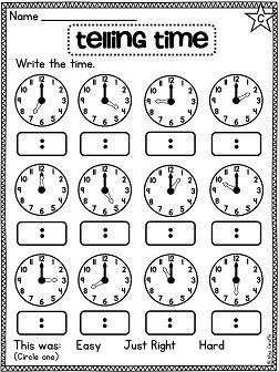 First Grade Math Unit 15 Telling Time to the Hour and Half