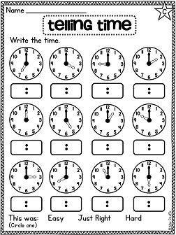 First Grade Math Unit 15 Telling Time | First Grade Activities ...