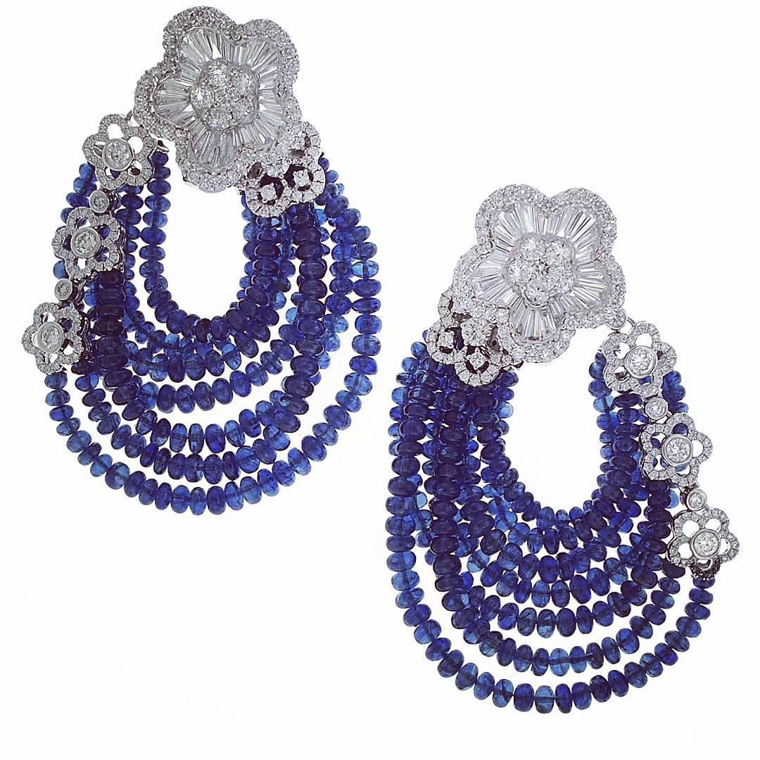 Schreiner Fine Jewellery  Diamond And Sapphire Beads Earrings From The 'la  Fleur' Haute