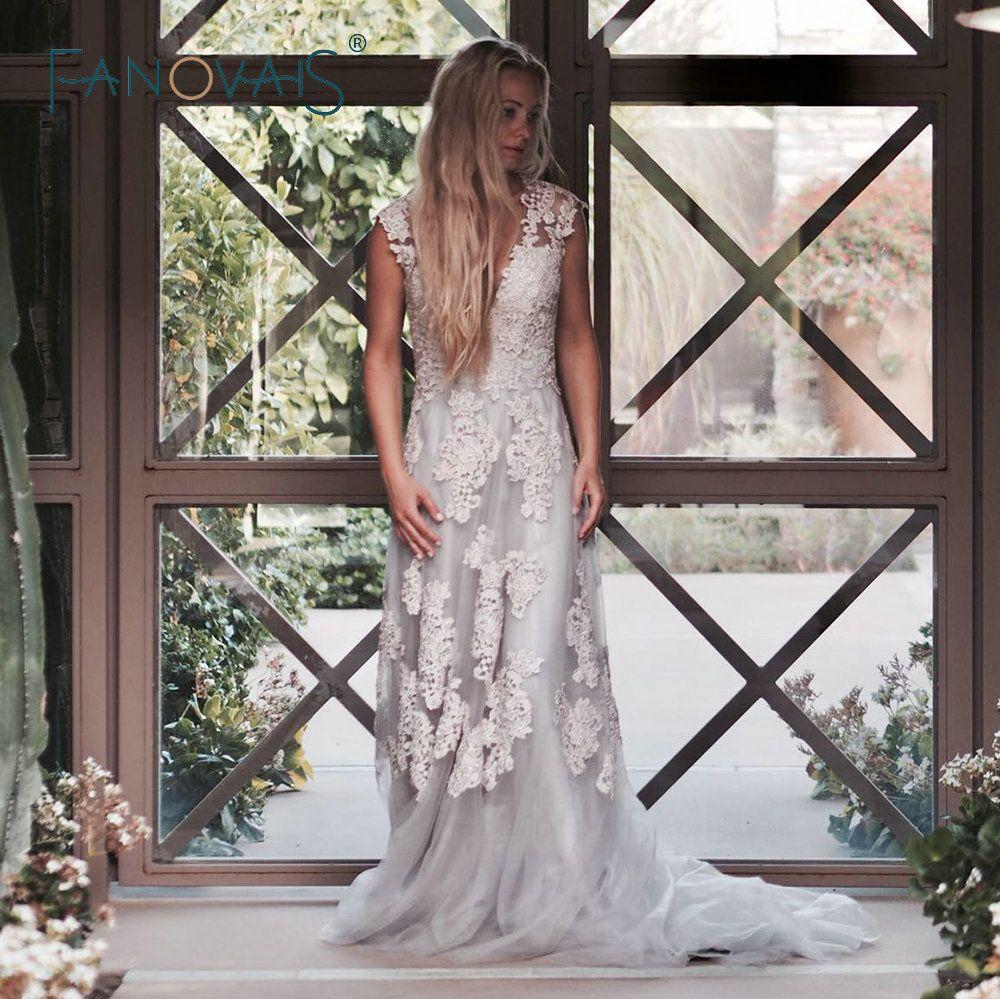 Vintage lace boho wedding dress robe de mariage cap sleeves blush