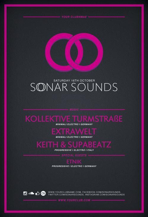 Free Flyer Template Sonar Sound Vol2 Minimal PSD Flyer Template - free templates flyer