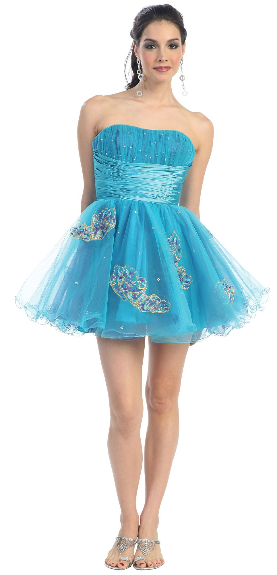 Turquoise Prom Dress Tulle Short Strapless Butterfly Embroidery Gown ...