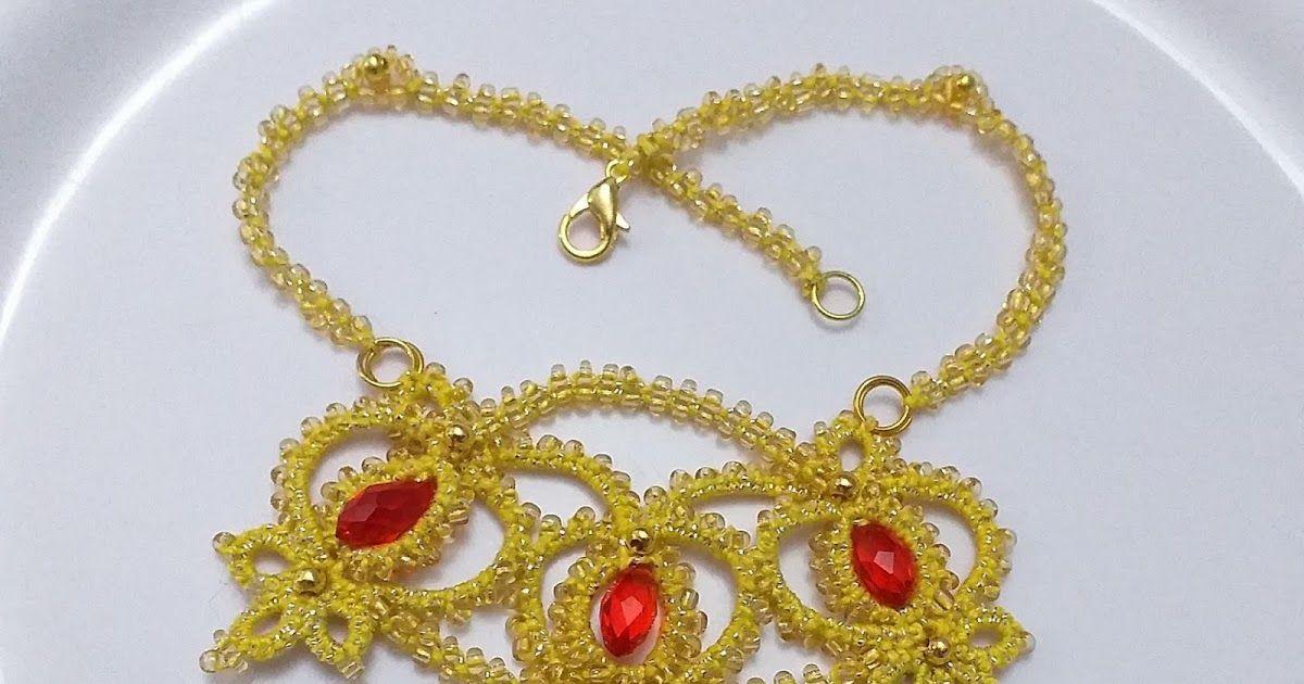 Photo of Goldene Bögen Halskette. tatted anhänger und halskette aus vintage edda gus …