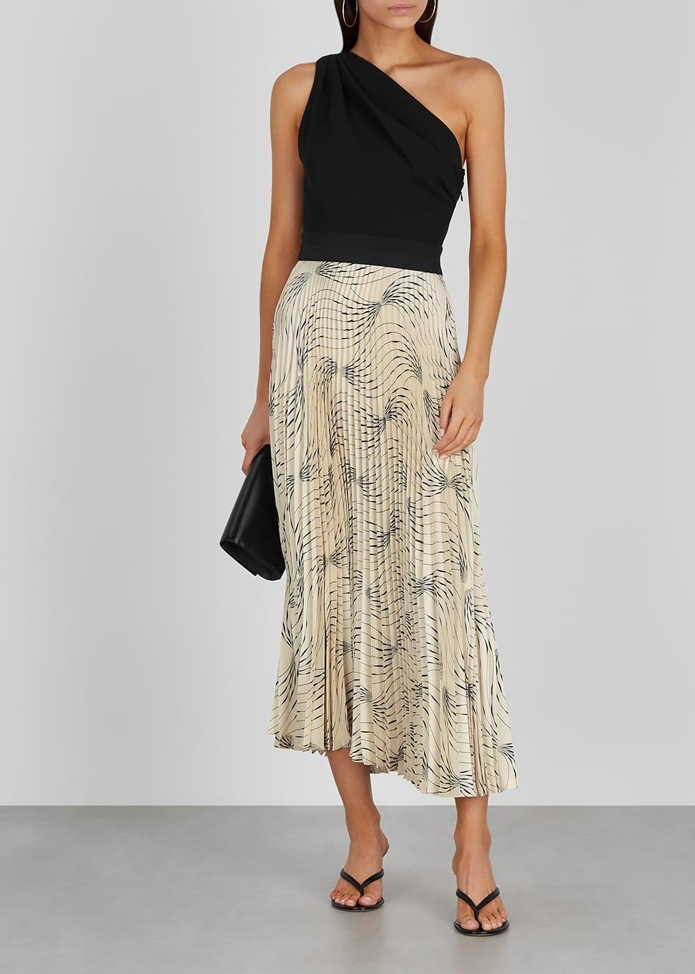 Victoria Beckham One Shoulder Jersey And Satin Midi Dress We Select Dresses Satin Midi Dress Metallic Knit Dress Chiffon Mini Dress [ 1372 x 980 Pixel ]
