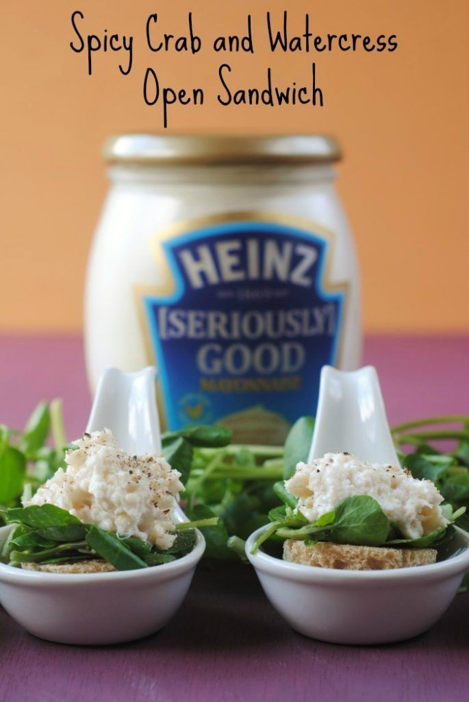Spicy Crab and Watercress Open Sandwich are the perfect addition to any party #sandwich