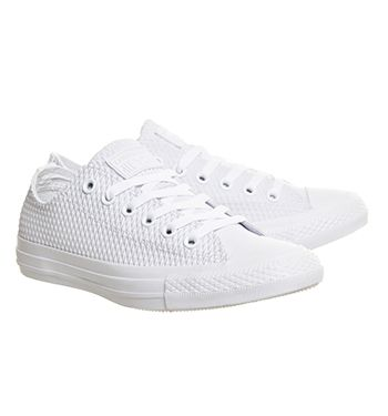 Converse Converse All Star Low White Mono Embossed Rubber - Unisex Sports