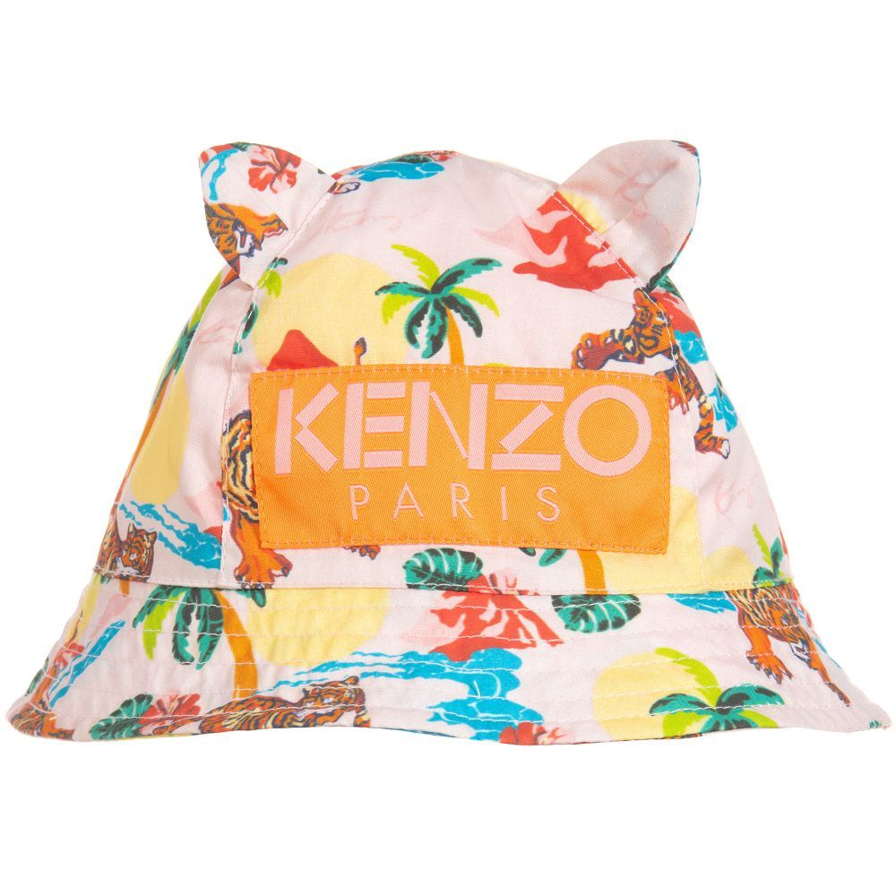 f2481989b2f Pink cotton sun hat for baby girls by luxury brand Kenzo Kids. It has an