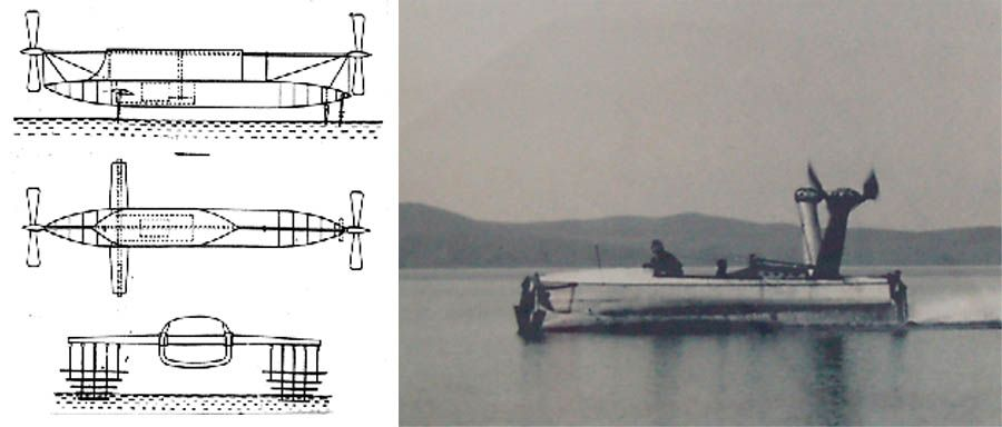 "Forlanini's started experimenting with hydrofoils in 1898 with a series of model tests, characterized by a ""ladder"" foil system:"