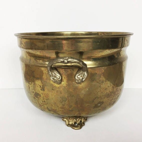 Vintage brass plant pot, beautiful large indoor planter ...
