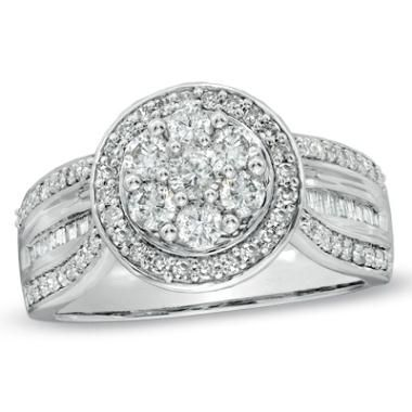 Fine Jewelry 1 CT. T.W. Diamond 10K White Gold Cluster Ring