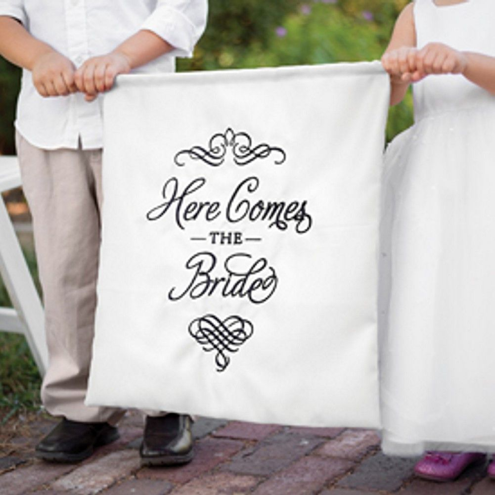 Elegant Here Comes The Bride White Sign | Wedding banners, Wedding ...