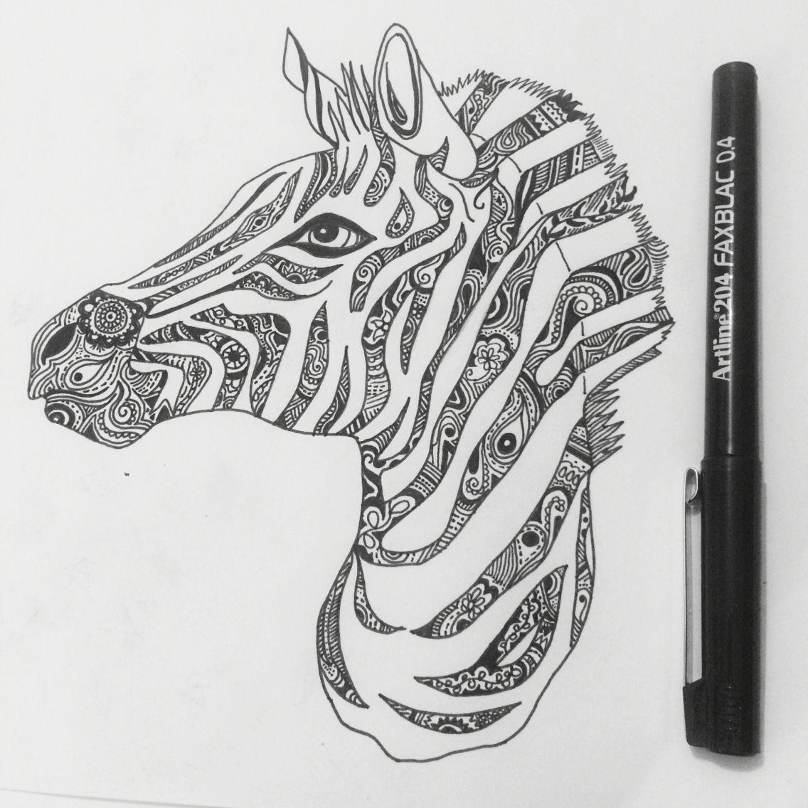 Zebra Design in 2019 Zebra tattoos, Zentangle patterns