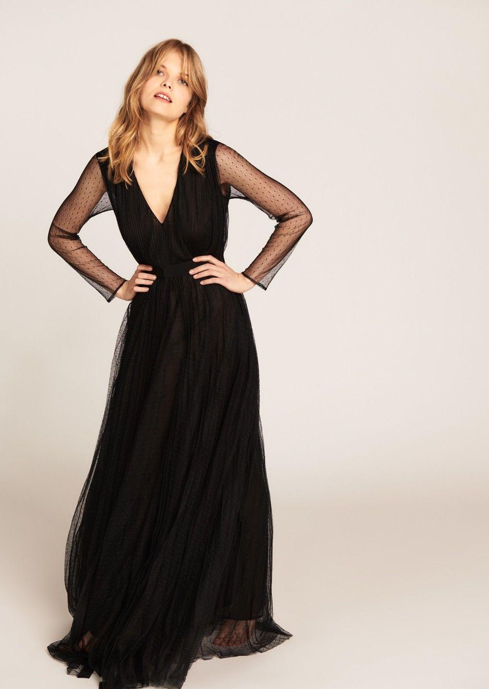 Robe noire longue plissée en tulle plumetis - femme - tara jarmon 1 ... dcc971629e28