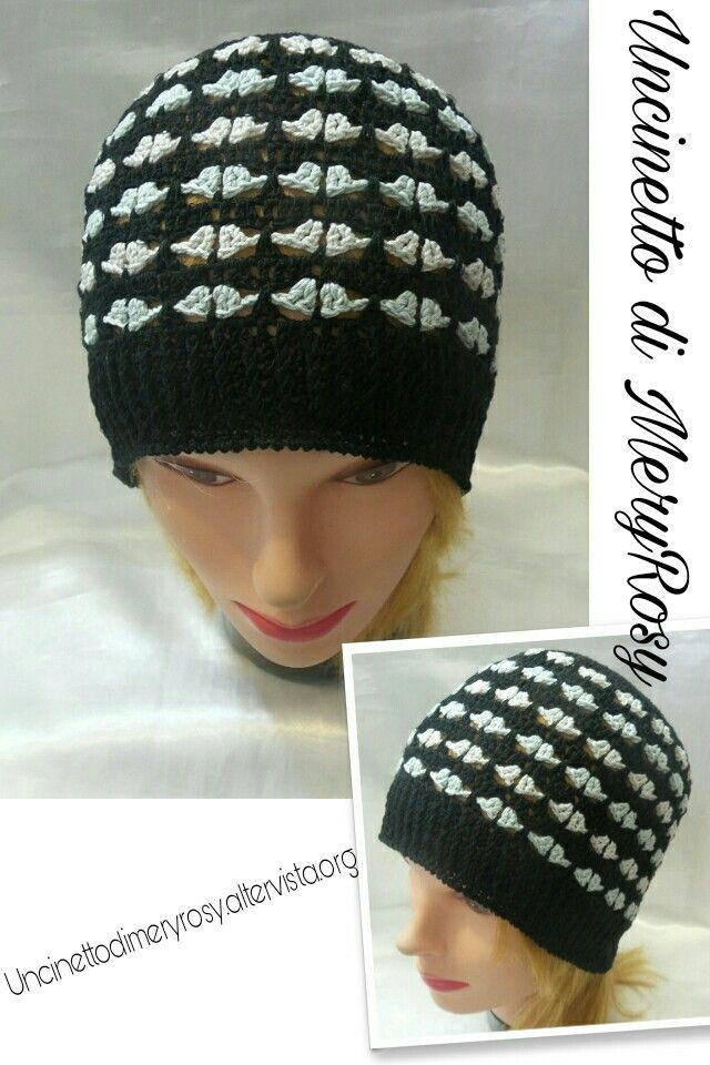 Cappello Da Donna Di Cotone Lavorato A Uncinetto Hat Cotton Woman