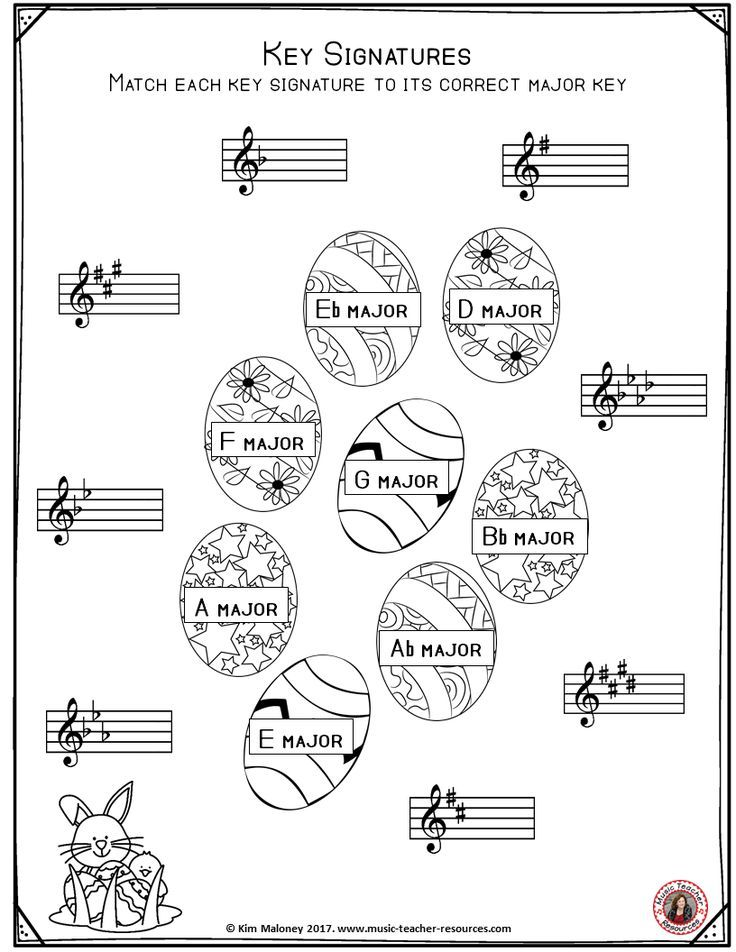 Free Music Worksheet Key Signature Worksheets With An Easter Theme
