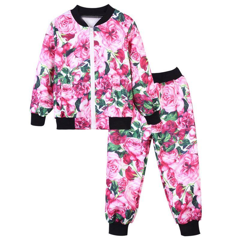 f2b4212ca Cheap BOTEZAI Niñas Sistemas de la Ropa 2018 Nueva Primavera Autunm Niños  Ropa Flor Diseño Sudaderas + Pantalones Traje de Deporte Para 2 10Y