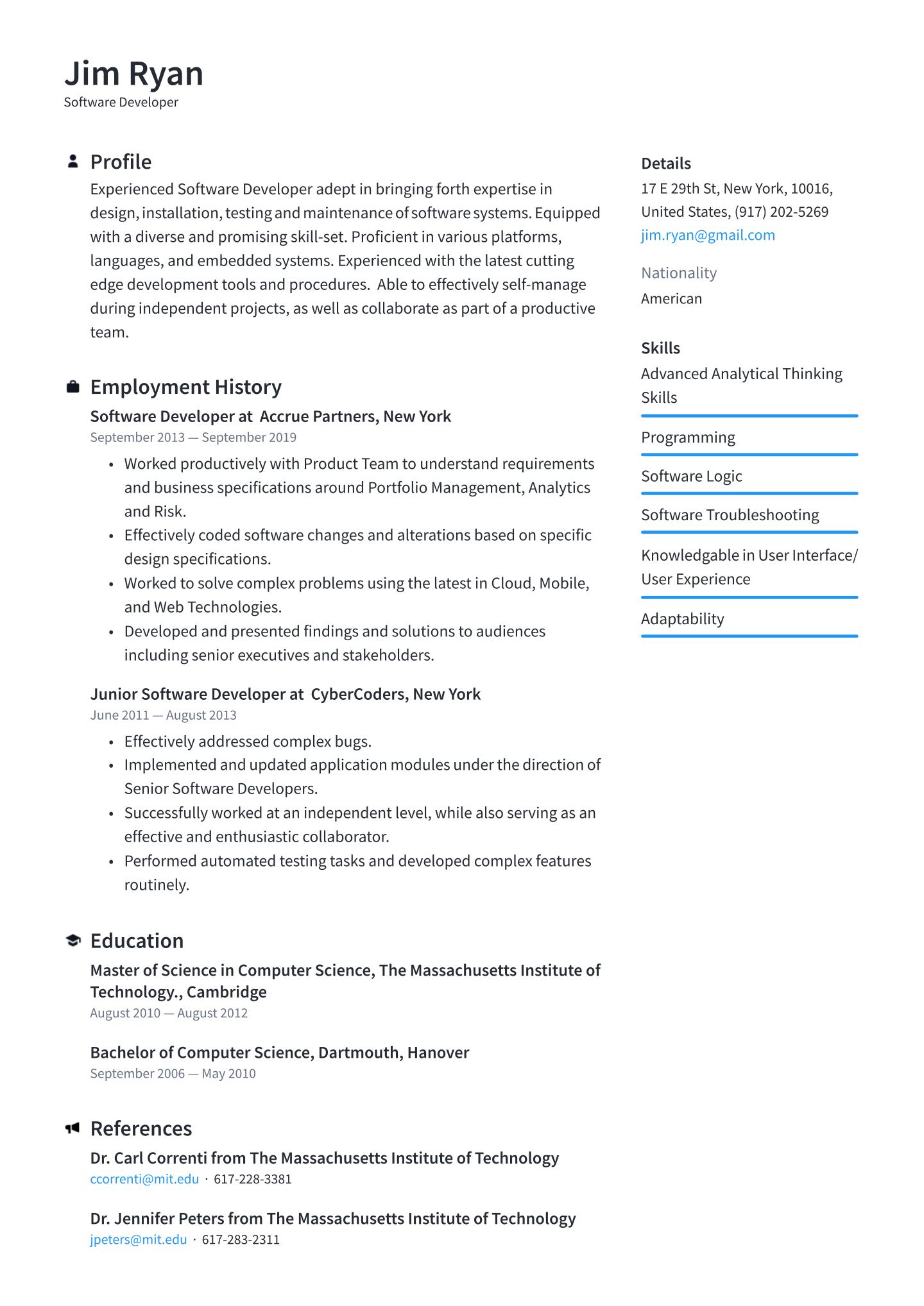 Resume Templates Software Engineer 5 Templates Example Templates Example Software Engineer Resume Templates Resume Template