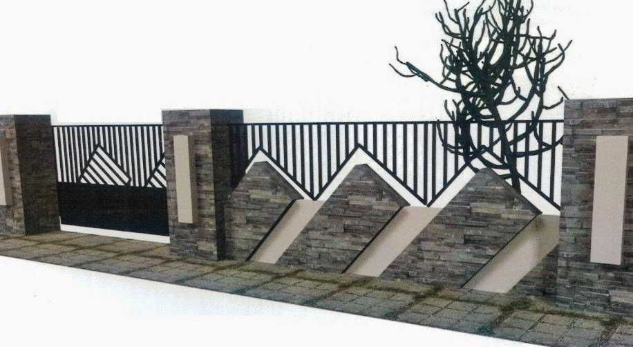 Ini Dia Model Pagar Rumah Minimalis Dengan Batu Alam Terbaik Eksterior Modern Desain Pagar Rumah Minimalis