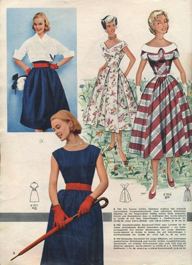 Four positively lovely 1950s springtime looks. #vintage #1950s #dresses #separates #accessories #fashion
