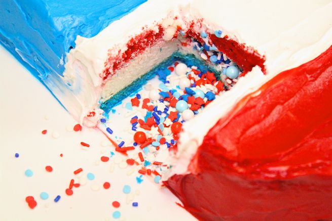 DIY Red, White, & Blue Giant Bomb Pop Piñata Cake & Giveaway