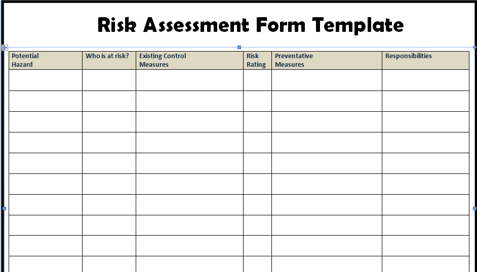 Risk assessment form templates project management for Risk control self assessment template