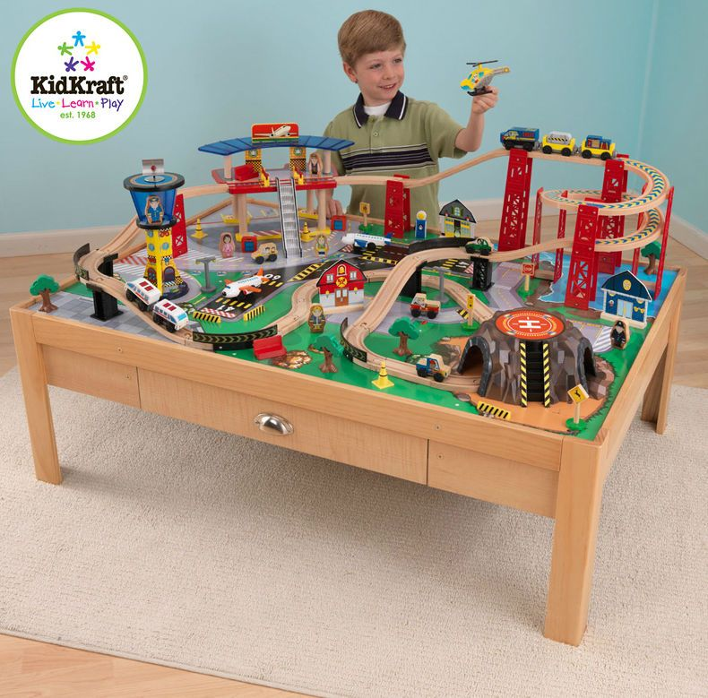 Kids TRAIN Set Table Boys Toy Track Car Race Airport Express Thomas U0026u2026