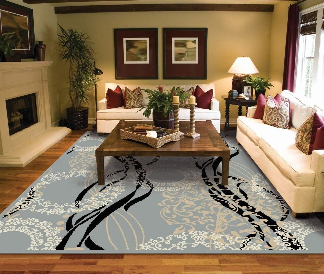 Amazon Com Large Rugs For Living Room 8x10 Black Clearance Area