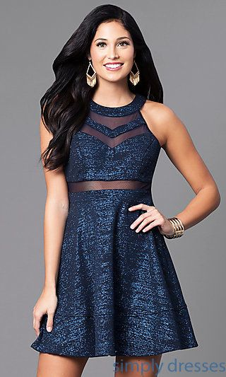 e1d25ae582ee Shop metallic navy blue holiday dresses at Simply Dresses. Cheap short party  dresses under  100 with high necklines