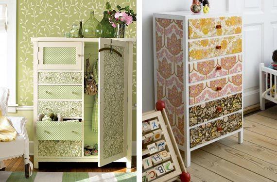 Muebles restaurados con papel pintado decoraci n - Papel decorativo para muebles ...