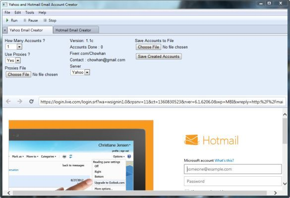 Yahoo and Hotmail Unlimited Email Accounts Creator (One Click ...