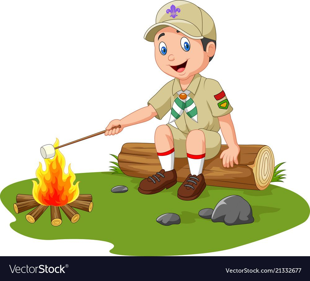 Cartoon Scout Roasting Marshmallow Download A Free Preview Or High Quality Adobe Illustrator Ai Eps Pdf And Hig Scout Camping Activities Scout Camping Scout