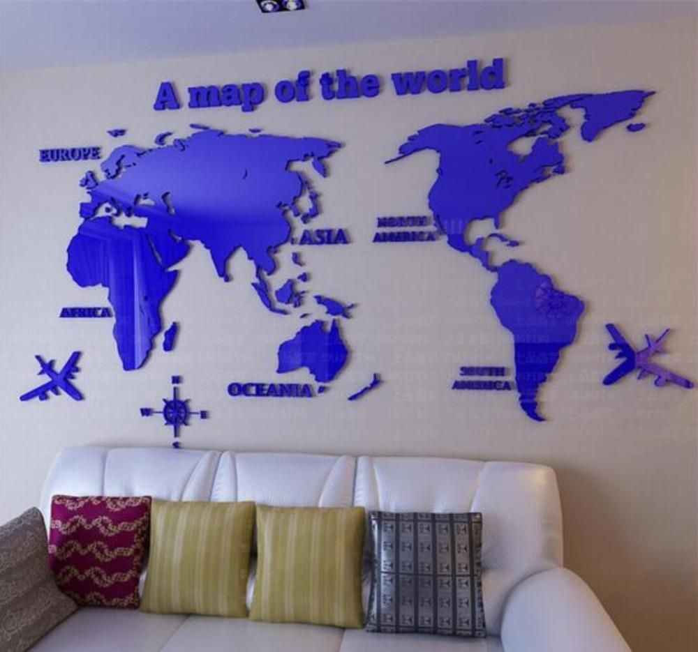 wall stickers for office. World Map 3D Crystal Acrylic Wall Stickers Office Living Room Sofa Backdrop Home Decor Art Sticker For L