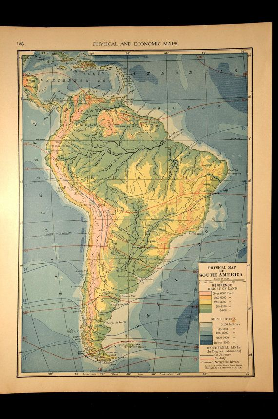 Vintage Topographic Map South America Physical Terrain 1930 Maps