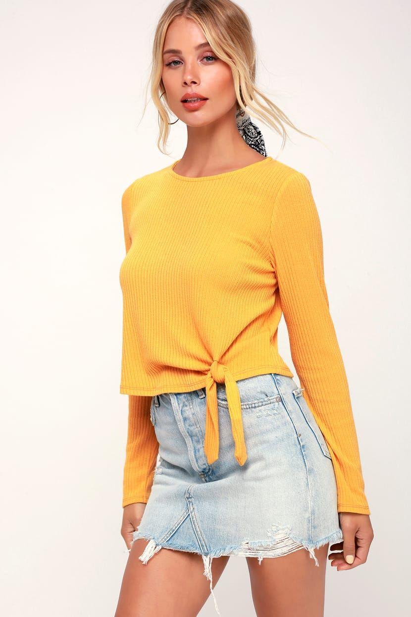 d617fa871321aa Wilson Mustard Yellow Ribbed Long Sleeve Tie-Front Crop Top in 2019 ...