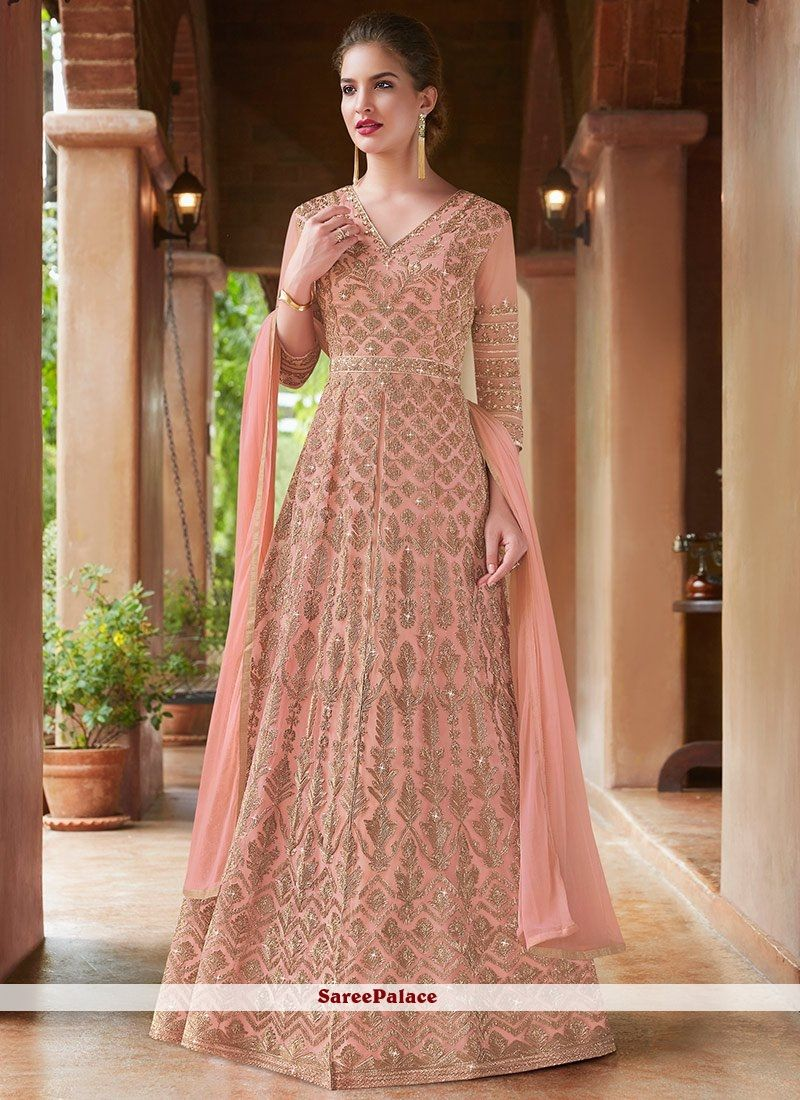 04fb4803a4 Embroidered Peach Net Floor Length Anarkali Suit in 2019   Dresses ...