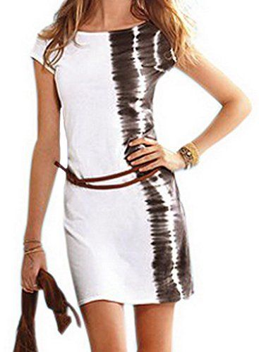 Smile YKK Women's Mini Short Sleeve Bodycon Dress Round Neckline White. Mini Long Sleeve Bodycon Dress. Cool Summer Fashion Dress with matching Belt. It features a round neckline and cap sleeves. This contrast front panel bodycon dress will flatter your figure with its clever black shadow on left side and contrasting front panel. Be chic and stylish this season in this short-sleeved club dress from dear-lover. Size: Bust 86-95cm Waist 58-70cm Hip 90-100cm Length 72cm. Package: 1x Dress.