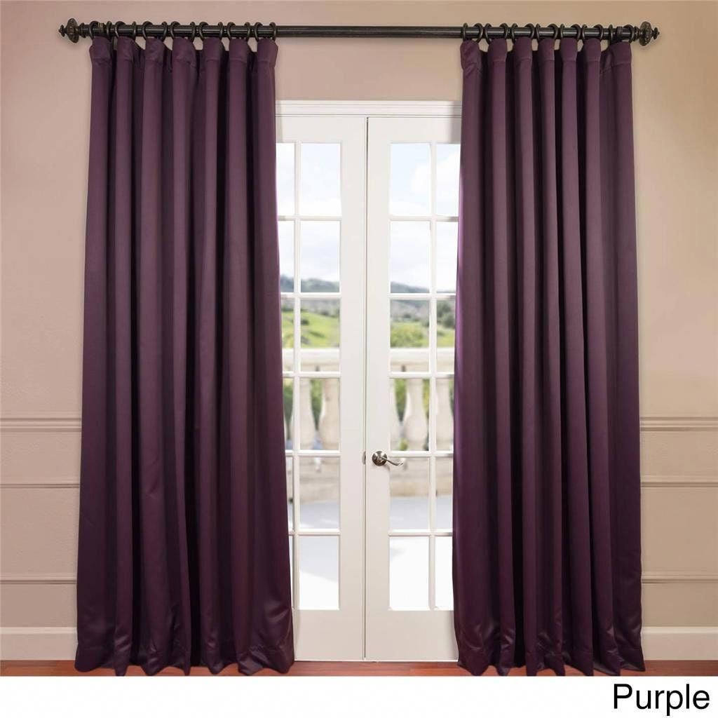 Eff Extra Wide Thermal Blackout 96 Inch Curtain Panel Purple