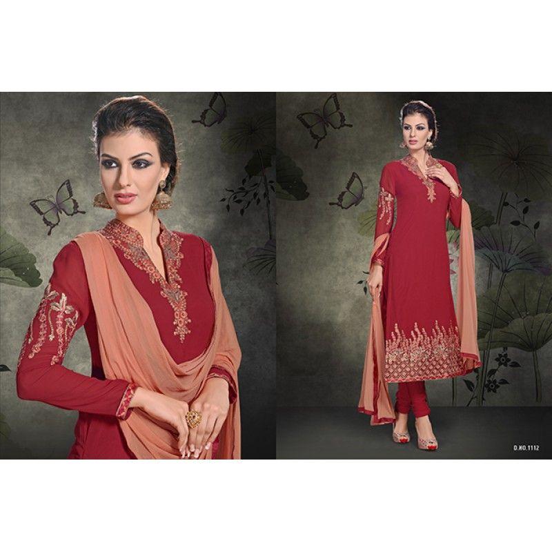 Designer Maroon Embroidered Georgette Party Wear Salwar Kameez  - 1112 ( OFB-542 )