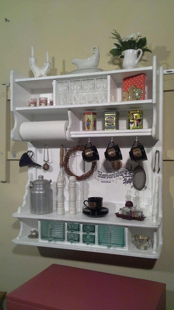 regal, küchenregal, gewürzregal, wandregal, aus der hol… | vintage