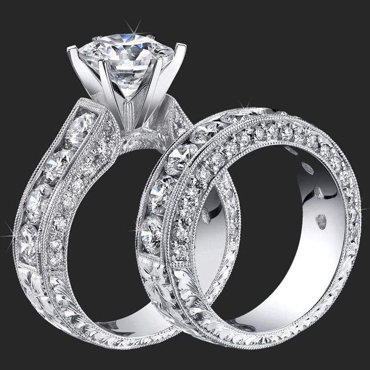Unique Wedding Rings · 410 Ctw Round Diamond Millegrain Engraved 6 Prong