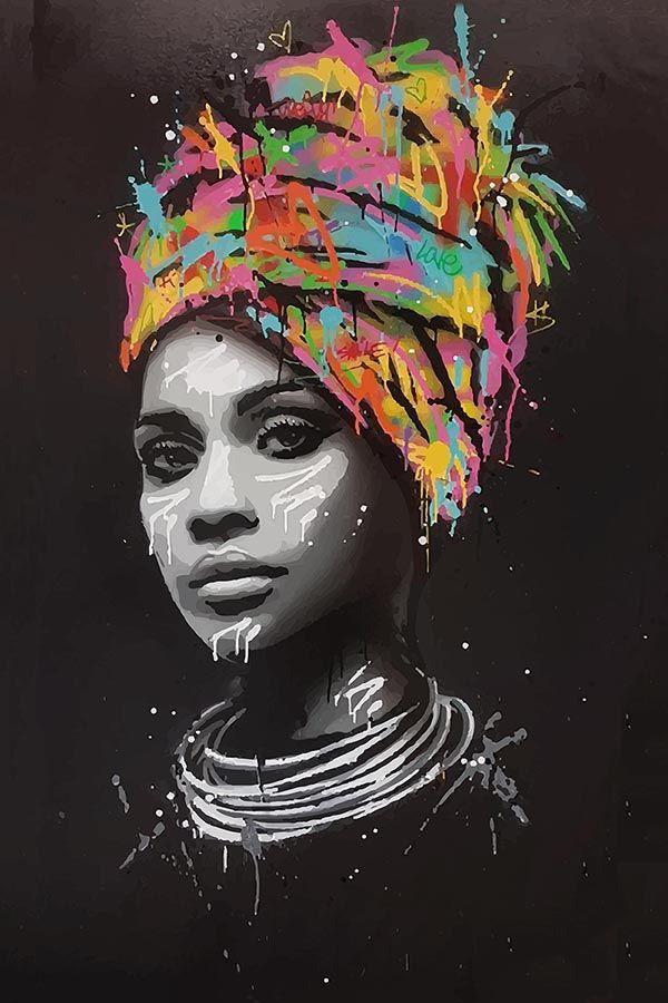 Seaty Artwork, African Woman, Graffiti, Canvas Art Print, Pop Art