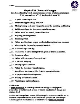 Worksheet: Physical Vs Chemical Changes | Science Education ...