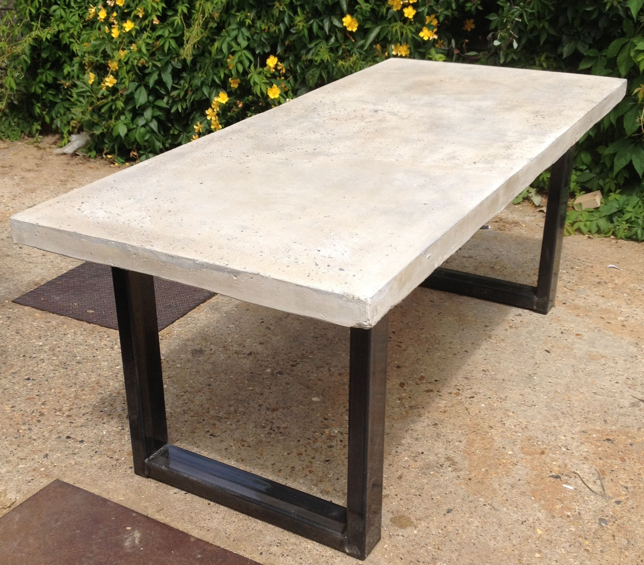 vintage industrial furniture tables design. Polished Chunky Concrete Dining Table With Industrial Metal Frame Modern Contermporary Style Vintage Furniture Tables Design W