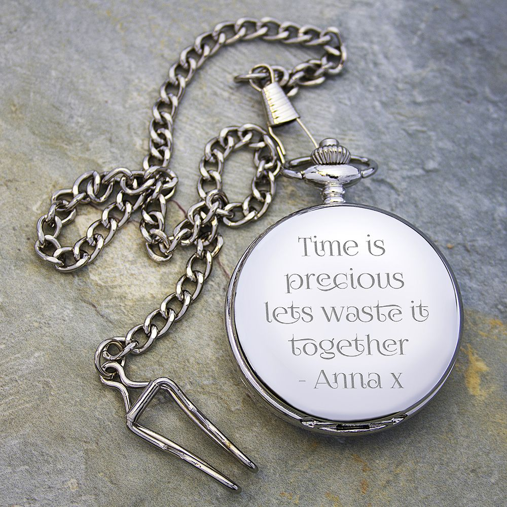 25th Wedding Anniversary Gift Ideas For Him: Personalized Anniversary Silver Pocket Watch