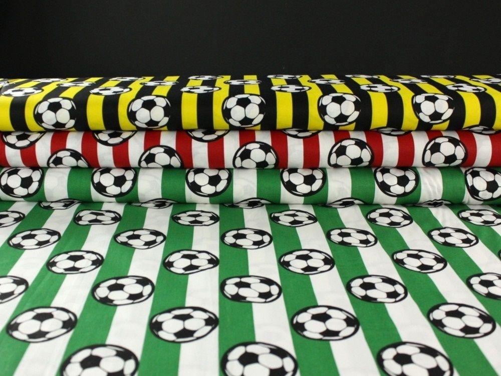 baumwollstoff fussball on strip gelb stoffe fussball pinterest. Black Bedroom Furniture Sets. Home Design Ideas