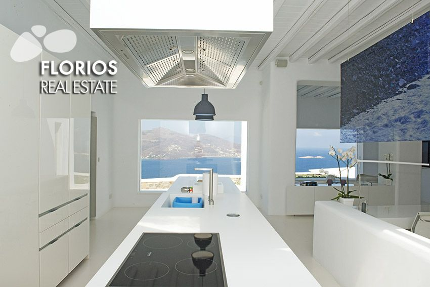 The residence features Satellite TV, Wi-Fi (covering the hall area), in floor heating (warm and cold), air condition in 3 bedrooms, Stereo in all seating areas (indoor/outdoor). Luxurious Villa for Sale on Mykonos island Greece. FL1467 http://www.florios.gr/en/mykonos-property/24.html
