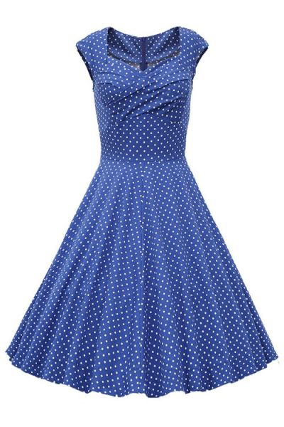 Sweetheart Collar Polka Dot Ruffle Short Sleeve Dress LIGHT BLUE: Casual Dresses | ZAFUL