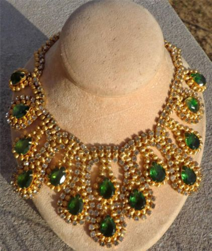 RARE Find Mimi DIN Costume Jewelry Runway Bib Necklace Gold Rhinestones Emeralds | eBay